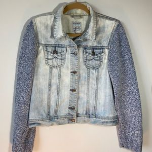 Up-cycled Jeans Jacket with Knit Sweater Arms, M